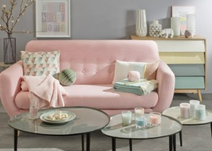 Dusty rose pink sofa, inetrior inspiration, Carrouselles